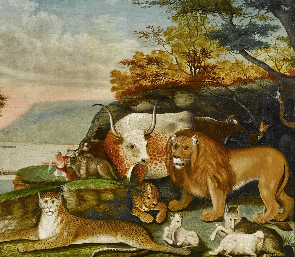 Edward Hicks (American, 1780-1849), Peaceable Kingdom, oil on canvas, 1845-1847