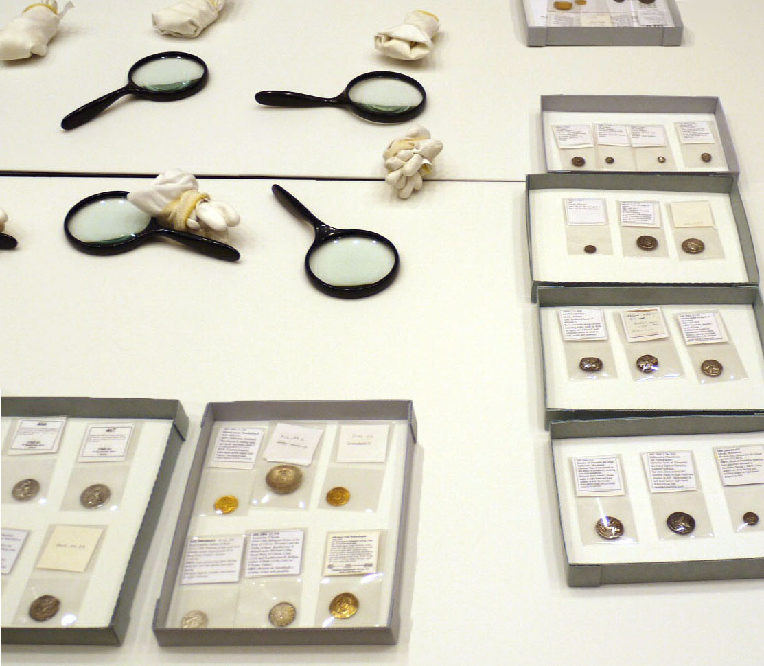 Coins on display in the Carson Teaching Gallery