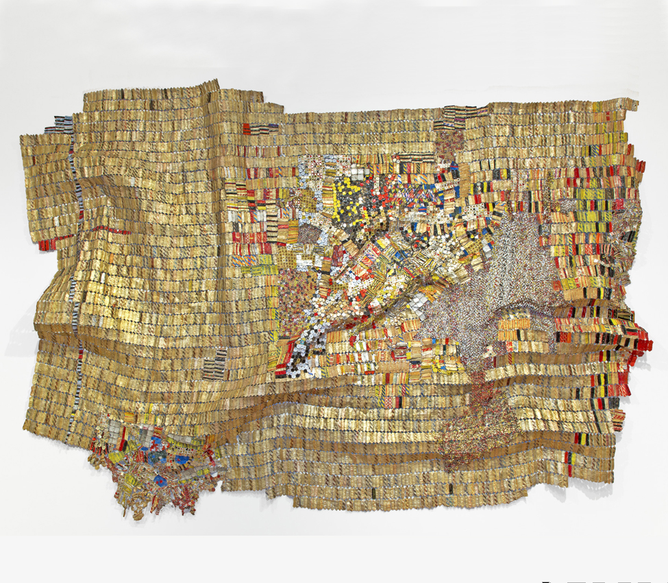 El Anatsui (Ghanaian, b. 1944), New World Map, 2009, aluminum and copper wire