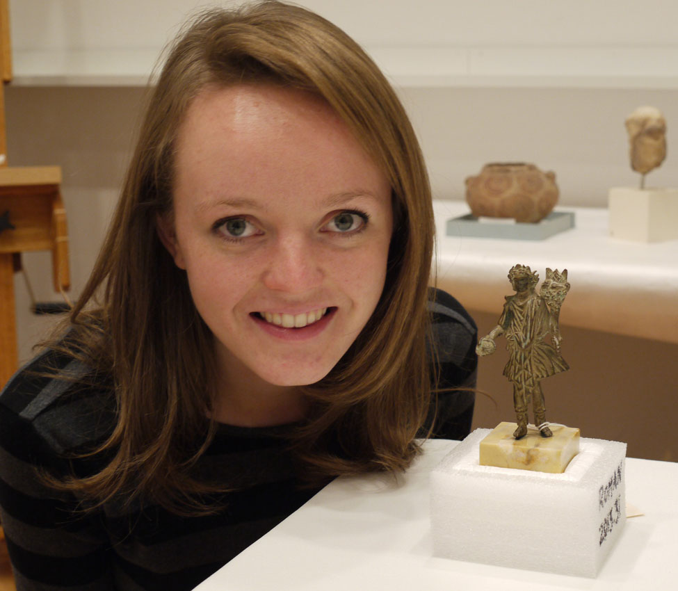 Taylor Anderson '15 with the Roman Lar she researched