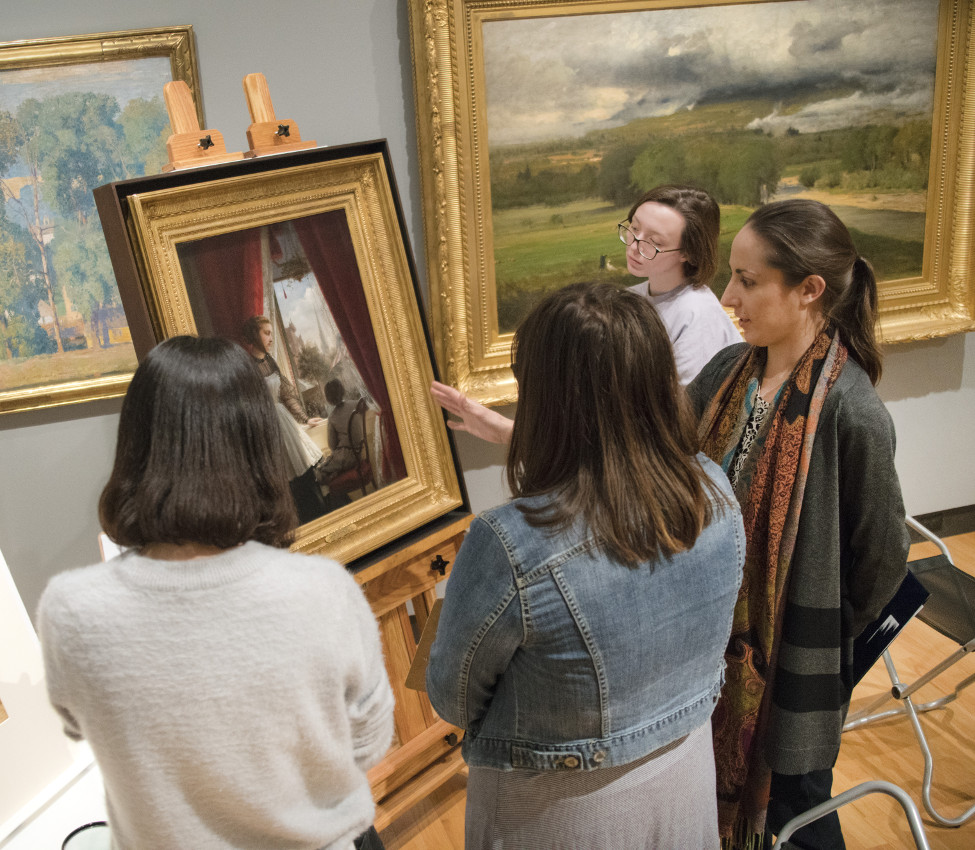 Students of Christine Delucia in the galleries, fall 2017