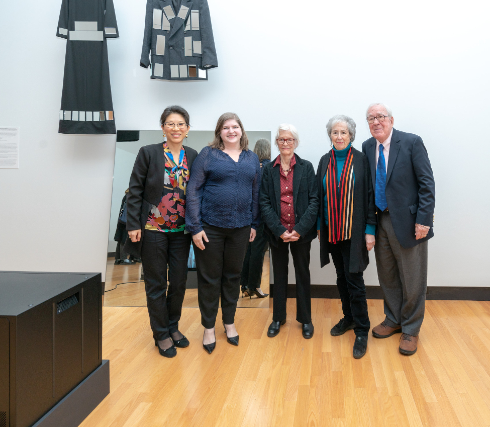 Tricia Paik (left), with Amy Martin (Director of the Weissman Center for Leadership and Professor of English on the Emma B. Kennedy Foundation), artist Joan Jonas ('58), Harriett L. ('58) and Paul M. Weissman