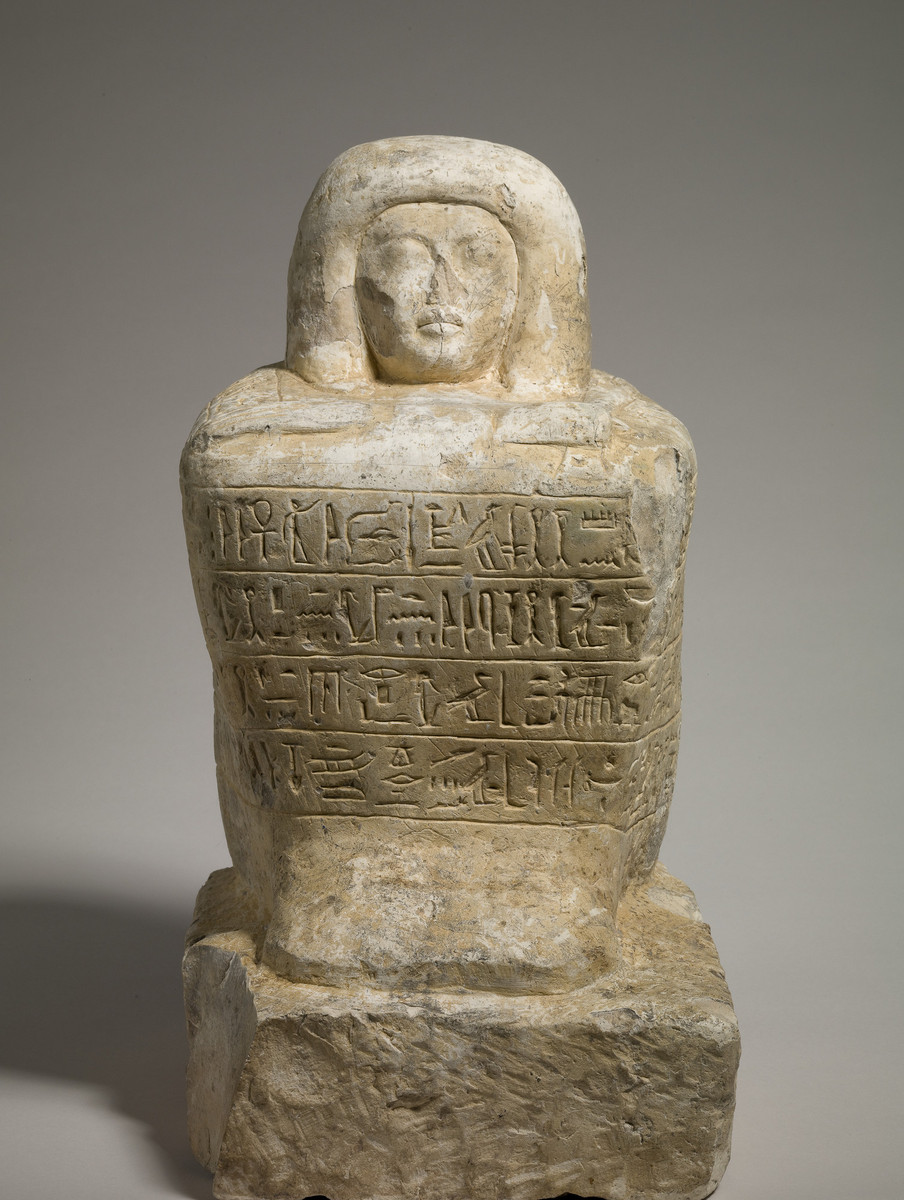 block statue of the scribe amunwahsu | mount holyoke college art museum