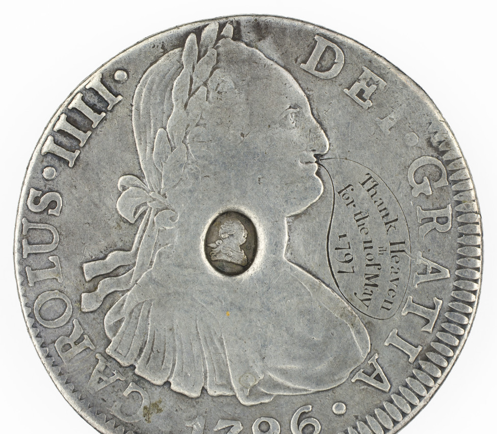 Spanish, British; 8 reales of Charles IV with George III countermark