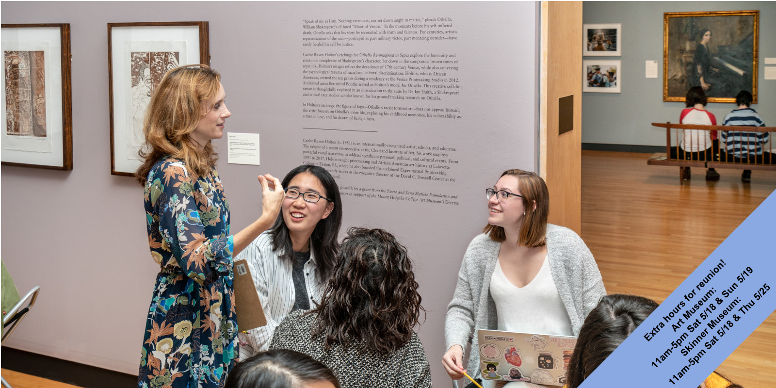 Professor Amy Rogers with Shakespeare students in the MHCAM galleries, October 2018