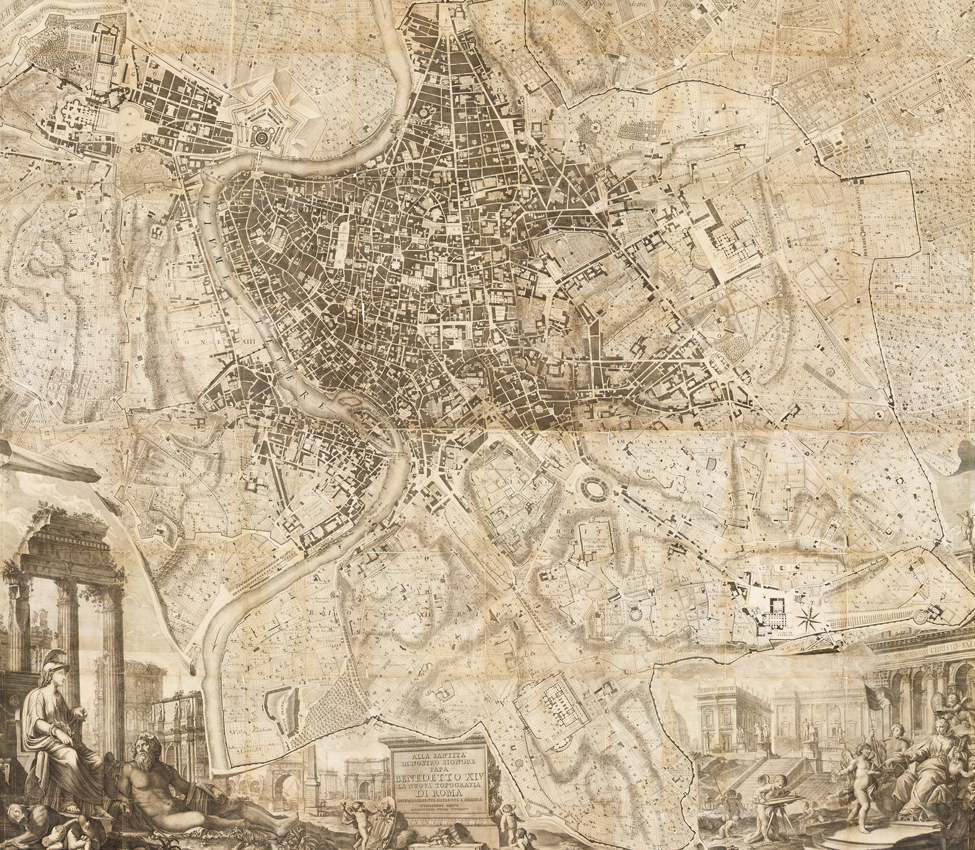 Giovanni Battista Nolli (Italian, 1701-1756); Domenico Pronti (Italian, active late 18th century), Nuova Pianta di Roma (detail), 1748 Nolli map; 1795 Pronti prints