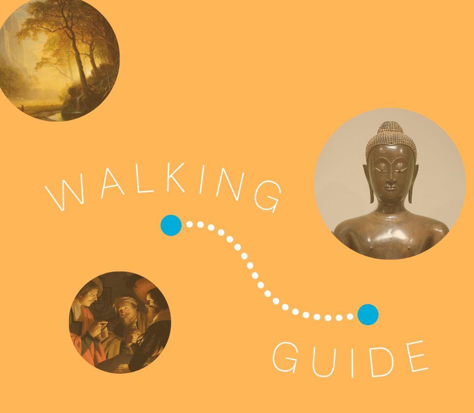 """An orange background with the text, """"Walking Guide."""" Surrounding it are three circle images of MHCAM collection artworks.."""