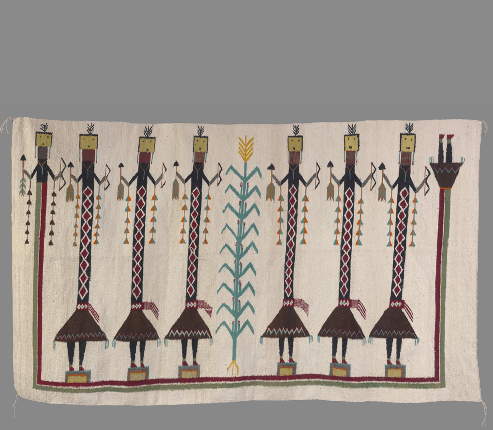 Unknown artist (Navajo), Weaving with Yei figures, ca. 1935-40