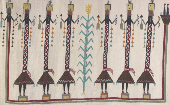 Unknown artist (Navajo), Weaving with Yei figures (detail), ca. 1935-40