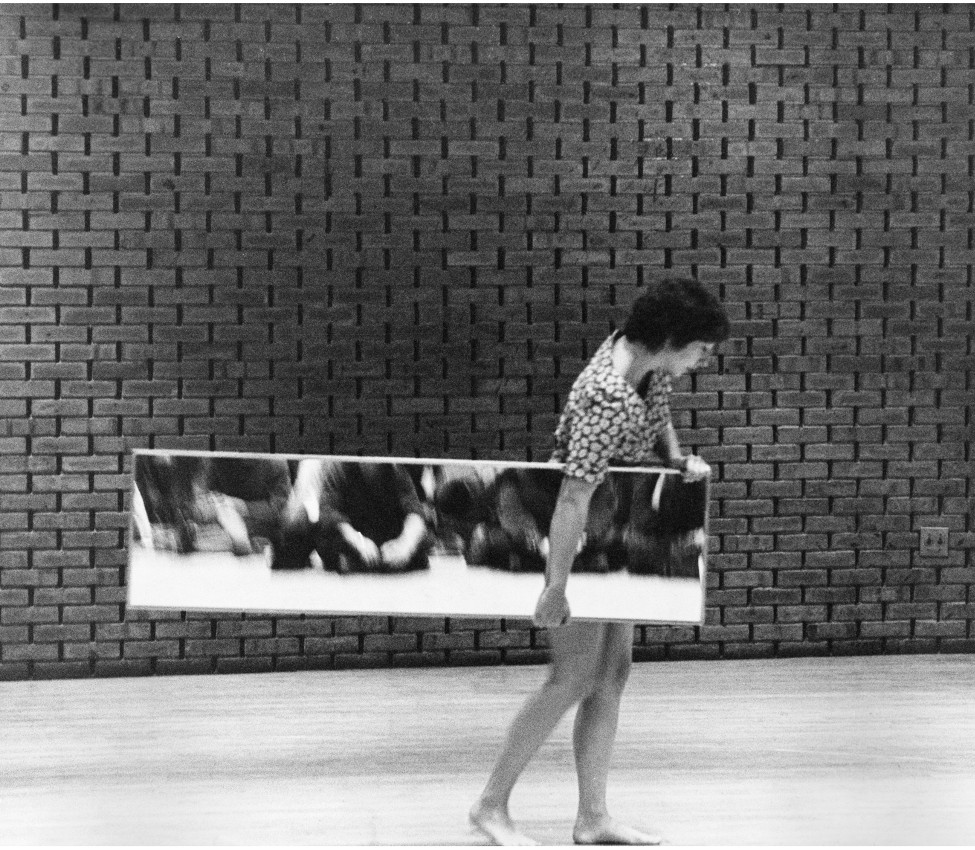 Performance view of Mirror Piece I (1969), Loeb Student Center, New York University, New York, 1969