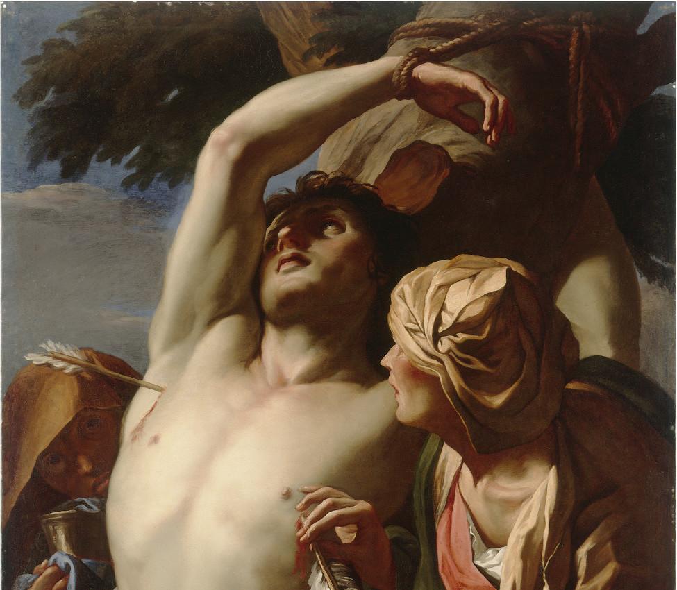 Daniel Seiter (Austrian, 1649-1705), Saint Sebastian Tended by Saint Irene (detail), ca. 1680