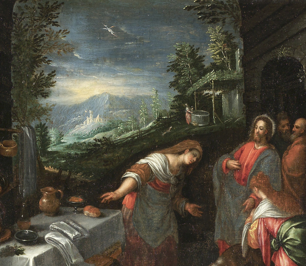 Giambattista Bassano (Italian, 1553-1613), Christ in the House of Mary and Martha (detail), after 1576-77