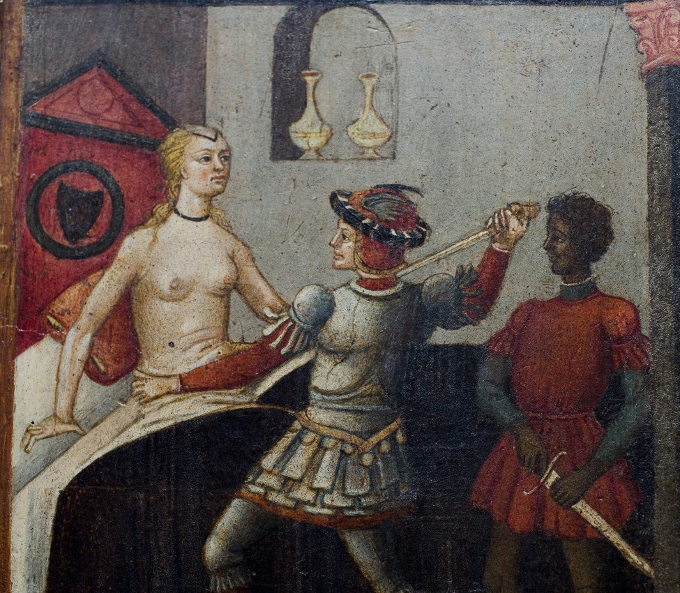 Unknown (Italian; Sienese), Wedding chest (cassone) with painted panel showing the Death of Lucretia (detail), ca. 1465-1475