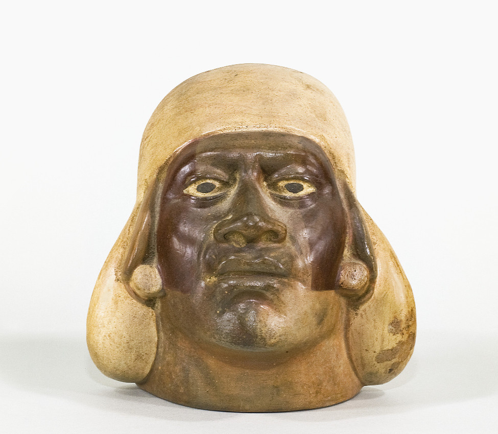 Unknown (Moche), Portrait head vessel, 200-500 CE