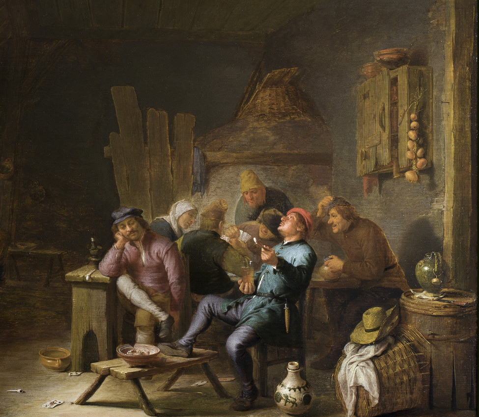 Hendrik Martensz Sorgh (Dutch, 1609/11-1670), An Inn Interior with Peasants, ca. 1641-1645 (detail)