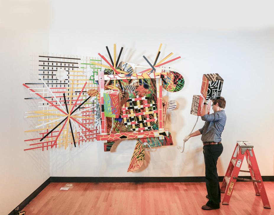 Jacqueline Finnegan installs a Judy Pfaff sculpture