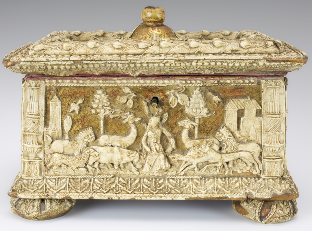 Maker Unknown (Italian), Pastiglia casket, ca. 1530, gilt wood mounted with pastiglia, lined with silk, purchase with funds from Gaetano and Susan Vicinelli (Class of 1964) and the Art Acquisition Fund, 2015.1.1