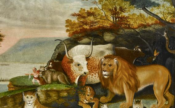 Edward Hicks (American, 1780-1849), Peaceable Kingdom, oil on canvas, 1845-1847