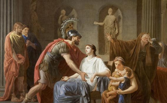 Etienne Aubry (French, 1745-1781), Les Adieux de Coriolan à sa Femme au moment qu'il part pour se rendre chez les Volsques (detail), ca. 1780