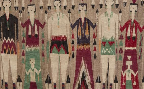 Artist unknown (Navajo), Yeibichai dancers with children (detail), ca. 1925, from the Collection of Rebecca and Jean-Paul Valette