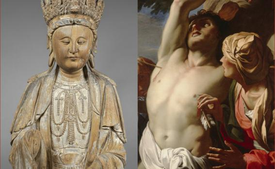 L: Unknown (Chinese), Guanyin, 960-1368; R: Daniel Seiter (Austrian, 1649-1705), Saint Sebastian Tended by Saint Irene (detail), ca. 1680