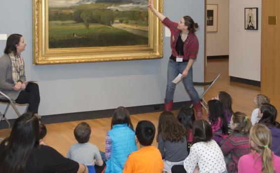Children explore a George Inness painting with MHCAM Student Guides