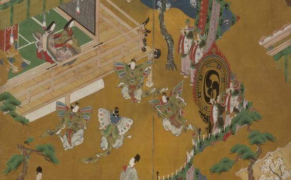 Kano, Masamitsu, also known as Eishunsai (Japanese, d. 1765), Six-fold screen with scenes from Tale of Genji (detail), mid 18th century