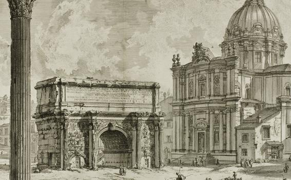 Giovanni Battista Piranesi (Italian, 1720-1778), Arco di Settimio Severo [The Arch of Septimius Severus] from the series Vedute di Roma [Views of Rome], 1759