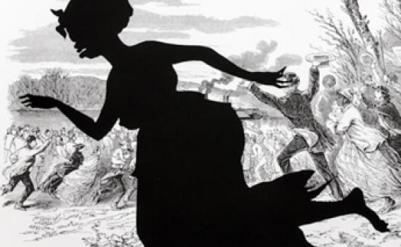 Kara Walker (American, b. 1969), Alabama Loyalists Greeting the Federal Gun-Boats, from the series Harper's Pictorial History of the Civil War (Annotated), 2005