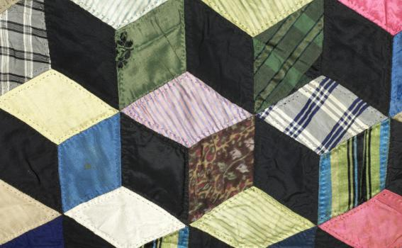 Unknown (American), Quilt with tumbling blocks pattern (detail), ca. 1845-1885