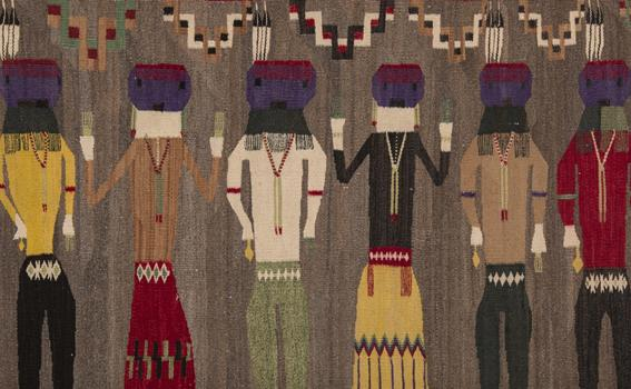 Unknown artist (Navajo), Yeibichai dance team, ca. 1925, handspun wool, From the Collection of Rebecca and Jean-Paul Valette
