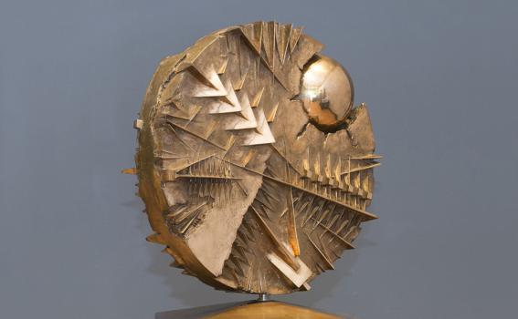 Arnaldo Pomodoro (Italian, b. 1926), Disco con sfera (Disk with Sphere), 1986