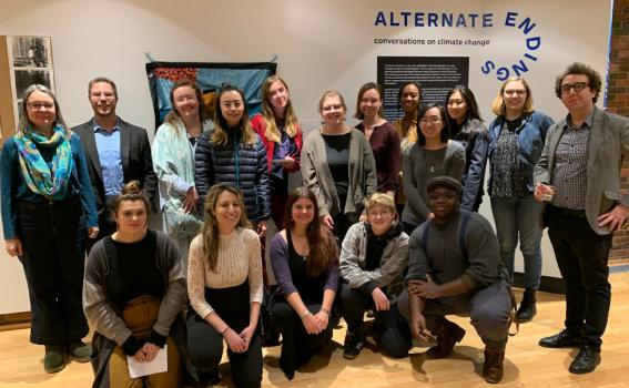 Students and faculty at the Alternate Endings opening event, January 29, 2020