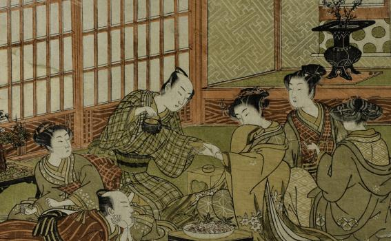 Isoda Koryūsai (Japanese, 1735-1790), A party in the Yoshiwara, from the series Shikidō tokkumi jūni-tsugai [Twelve bouts of lovemaking]
