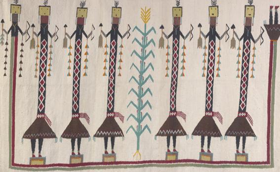 Unknown artist (Navajo), Weaving with Yei figures (detail), ca. 1935-40