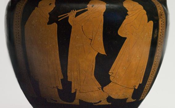 Eupolis Painter (Greek; Attic), Vessel for mixing wine and water (column krater) with veiled dancers (detail), 450-440 BCE