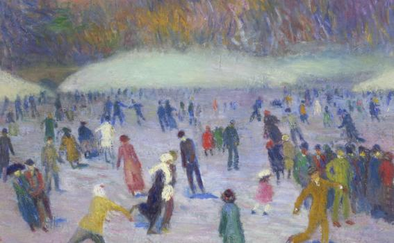 William Glackens (American, 1870-1938), Skaters, Central Park (detail), ca. 1912