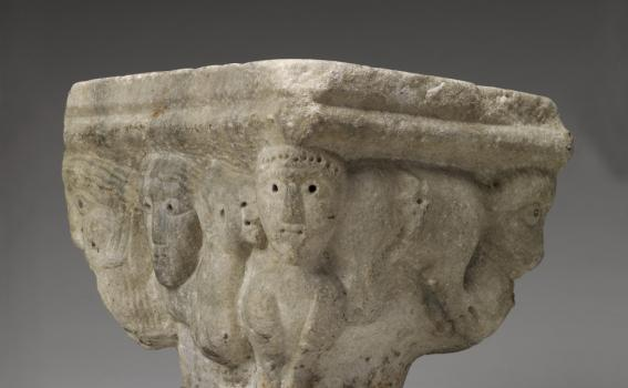 Maker unknown (North Italian; possibly Austrian), Capital with human and animal figures, first half of the 12th century