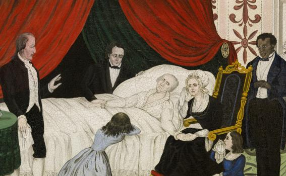 John Meister (American, active 19th century), George Washington on His Deathbed, 1876 (detail)