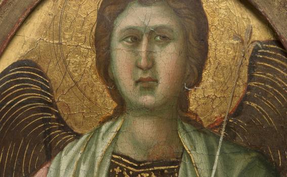 Duccio (Italian, Sienese, ca. 1255-before 1319), Detail of an Angel (pinnacle from the Maestà altarpiece), ca. 1308-1311