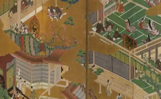 Masamitsu Kano, also known as Eishunsai (Japanese, d. 1765), Six-fold screen with scenes from Tail of Genji, mid 18th century (detail)