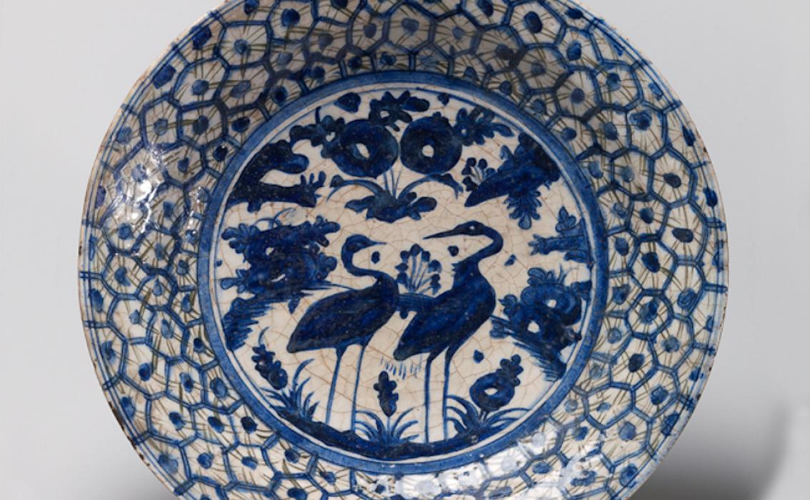 Maker Unknown (Persian), Dish with Two Cranes