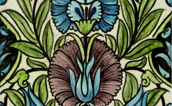 William De Morgan (British; English, 1839-1917), Iznik-inspired tile (detail), 1882-1888 design; 1898 production