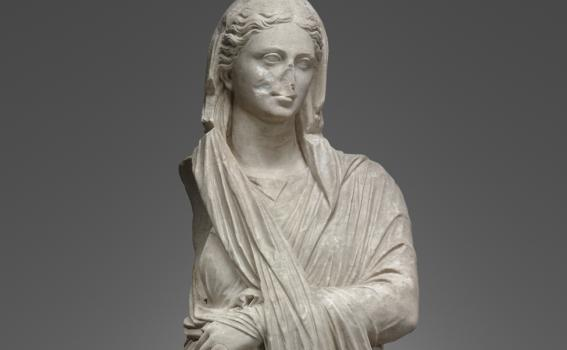 Portrait Statue of a Woman, Roman, 1st century B.C.–early 1st century A.D. Marble. Yale University Art Gallery, Yale University Art Gallery