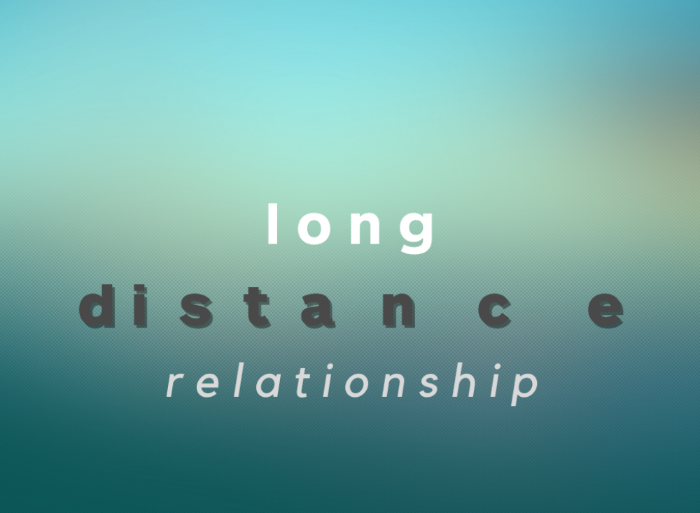 Gradient of blue and yellow with text overlaid that reads: long distance relationship.