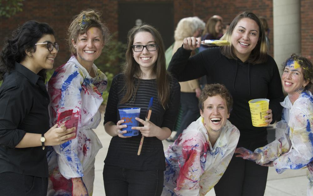 Dancers and artists, left to right: Qanitah Malik, Joy Davis, Gabby Kruczynski, Shaina Cantino, Luna Lopez, and Jen Polins