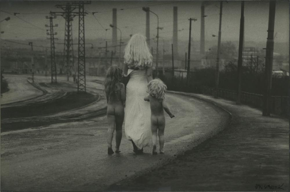 Fate Descends towards the River Leading Two Innocent Children by Jan Saudek