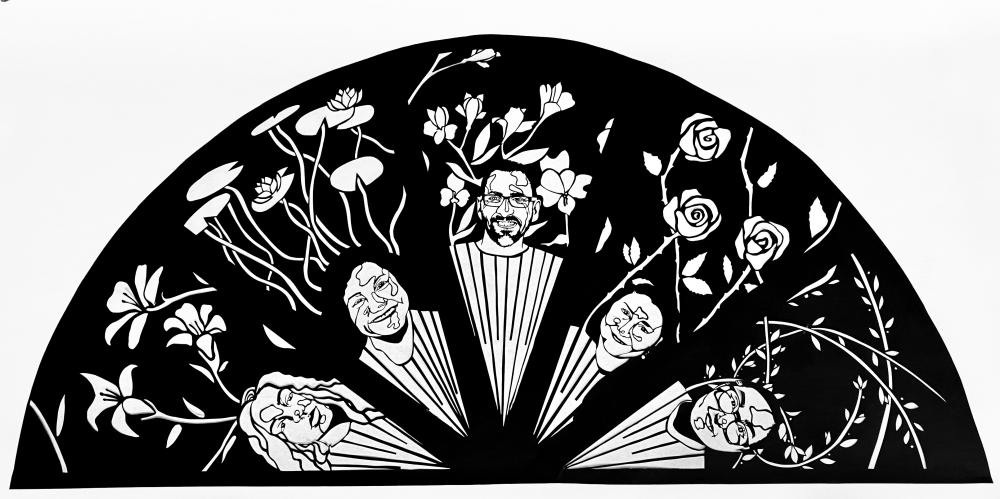 Single sheet of black paper cut into a 5' semicircle. The semicircle is divided into five sections with a person's portrait and flowers cut out in each.