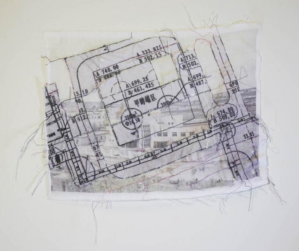 "Jianing Li '21, ""Old City 03"" (2021) Embroidery on fabric"