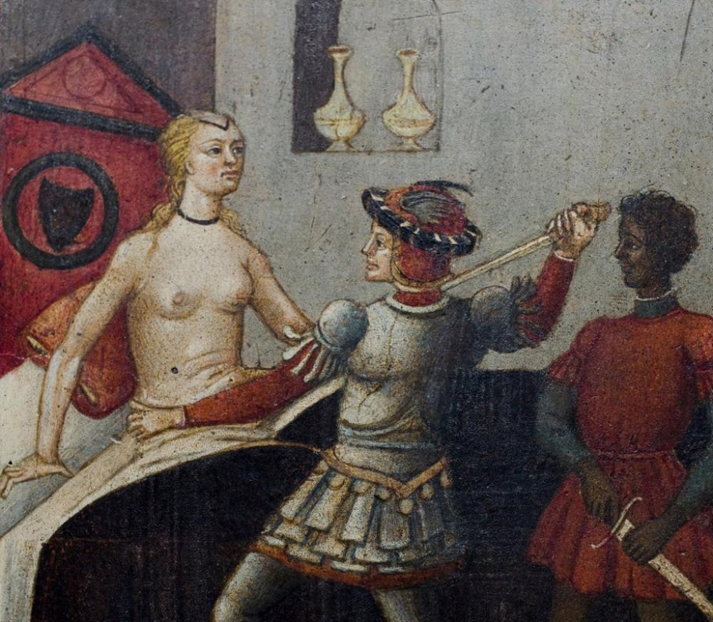 Artist Unknown (Italian, Sienese) Cassone with panel depicting the Death of Lucretia (detail)